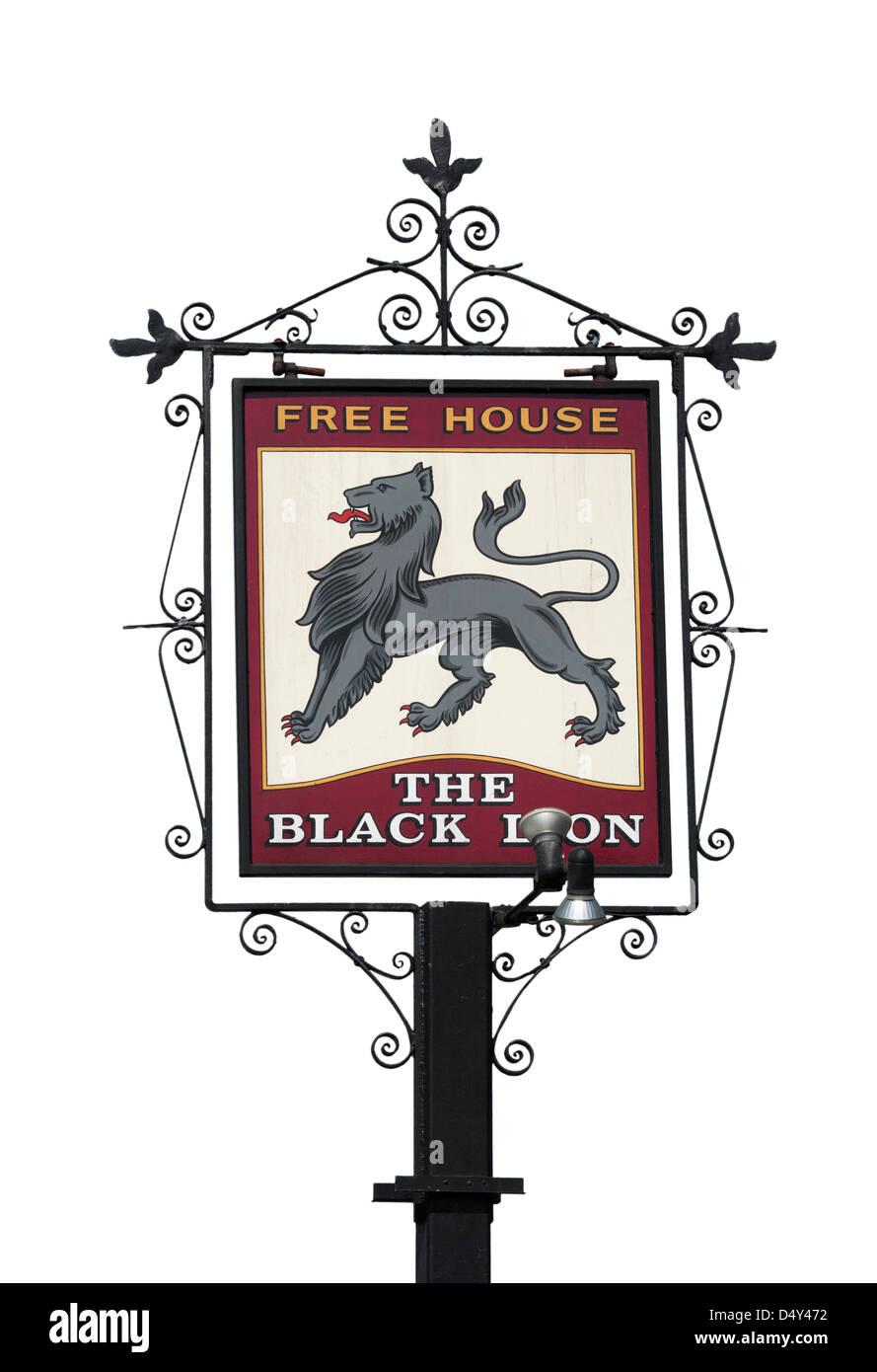 The Black Lion Pub Sign UK Pub Signs - Stock Image
