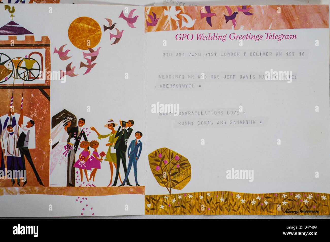 a 1950's GPO Wedding Greetings congratulations telegram UK - Stock Image