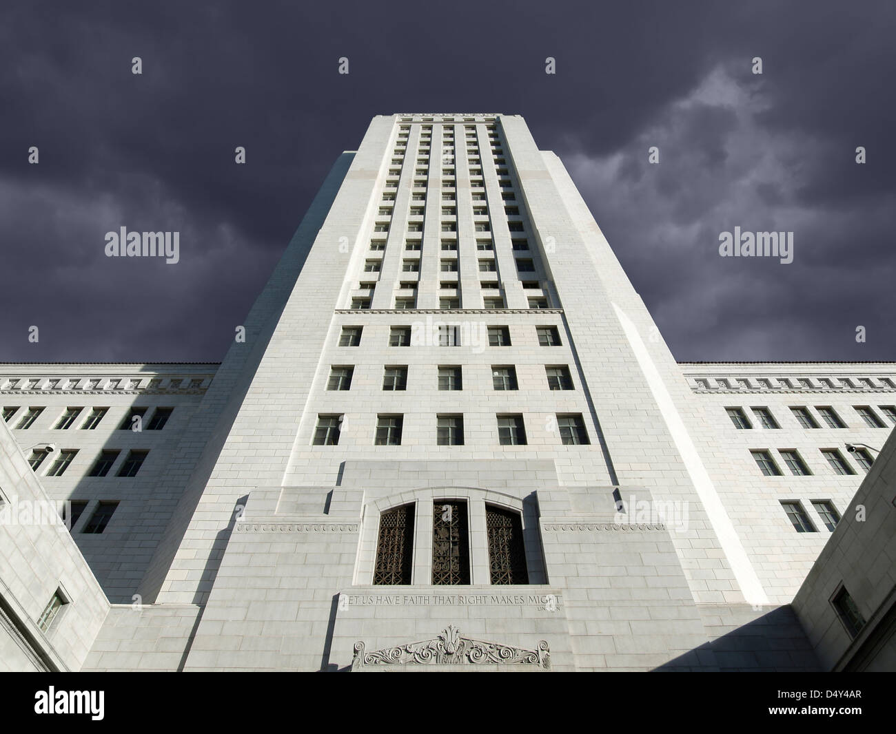 Thunder storm sky over the Los Angeles city hall in Southern California. - Stock Image