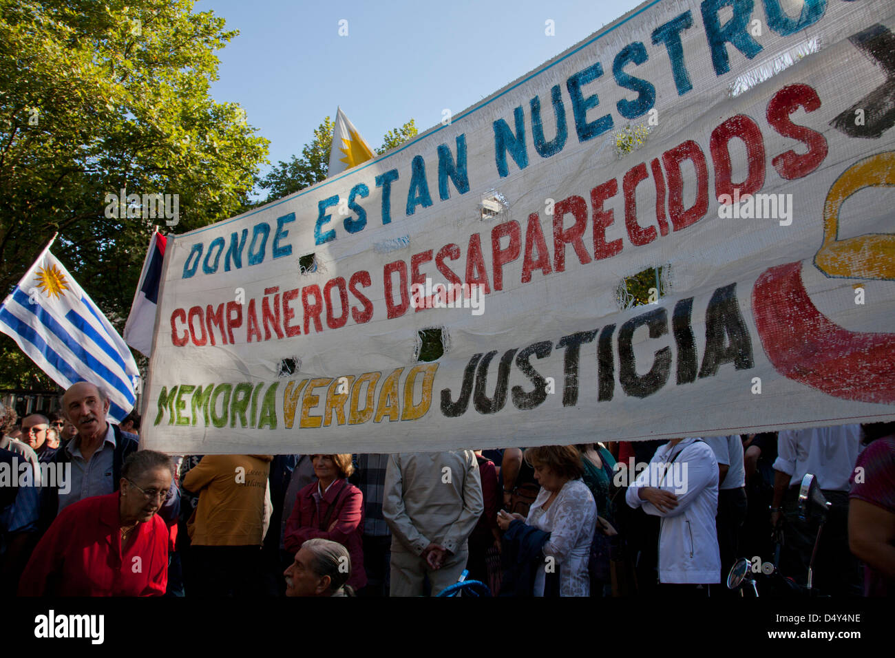 Demonstration by families of people who disappeared during military rule 1973-1984, Montevideo, Uruguay - Stock Image