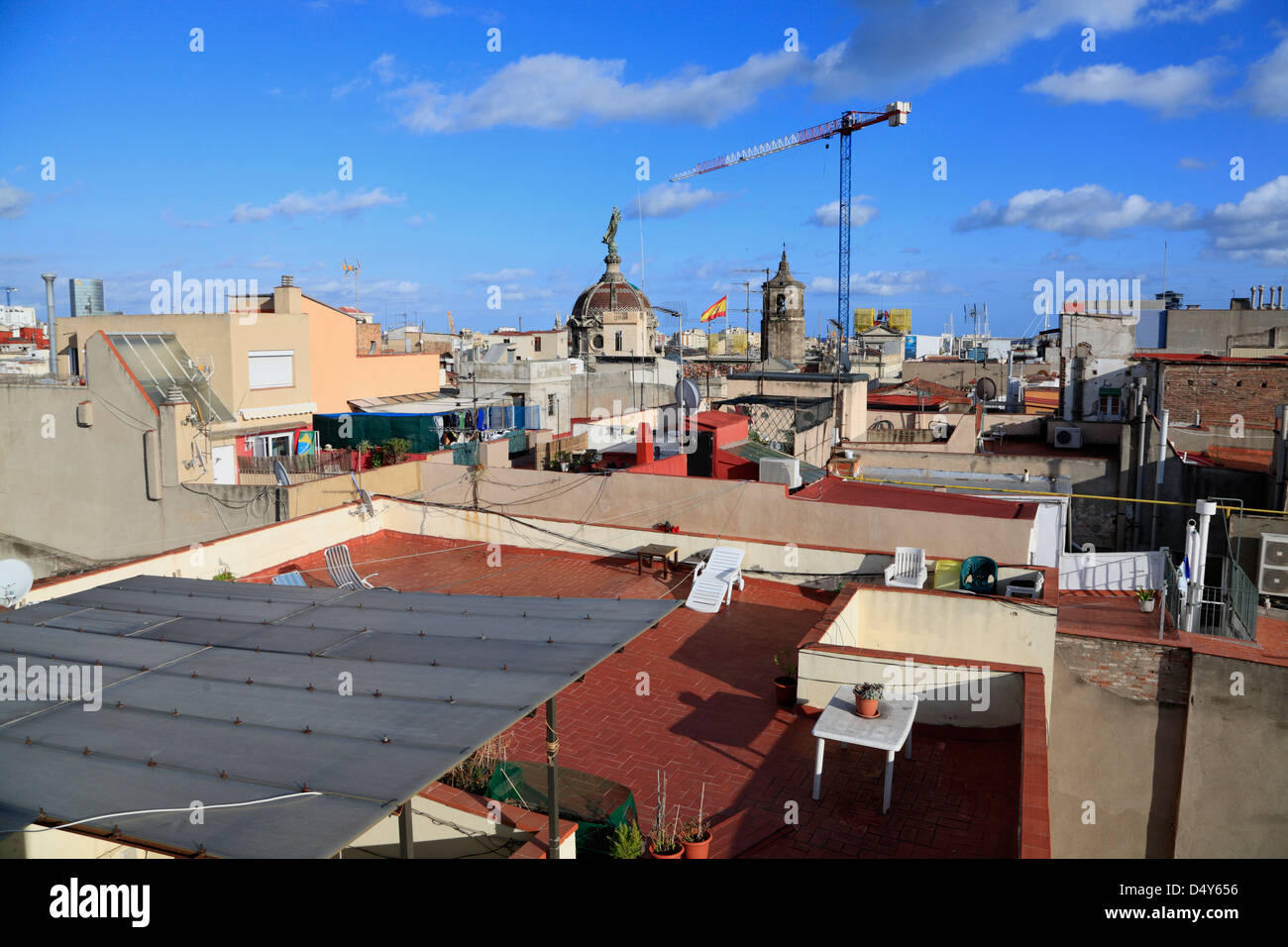 View across the roofs of Barri Gotic, Barcelona, Spain - Stock Image
