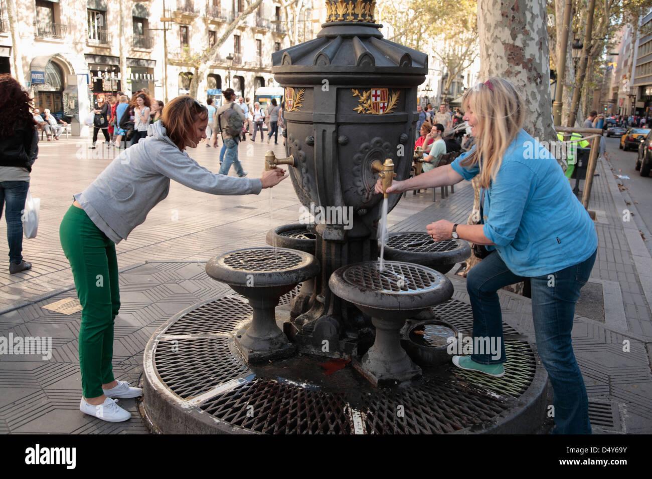 Fountain at Rambla de Canaletes, Barcelona, Spain - Stock Image