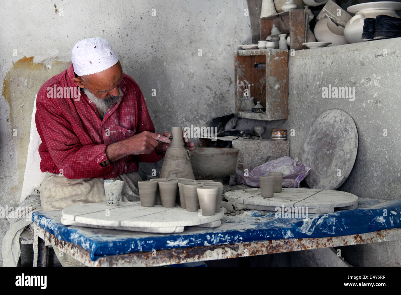 Africa, Morocco, Fes. Ceramic Artisan of Fes. - Stock Image