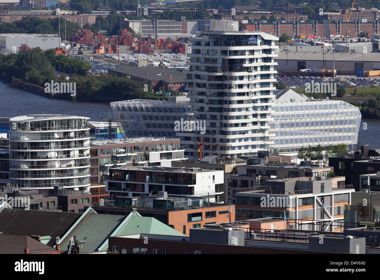 Hamburg, Germany, overlooking the Marco Polo Tower and the Unilever - Stock Image