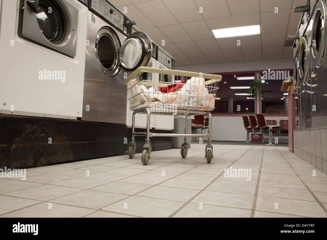 Laundromat in North Adams Massachusetts during a slow evening. - Stock Image