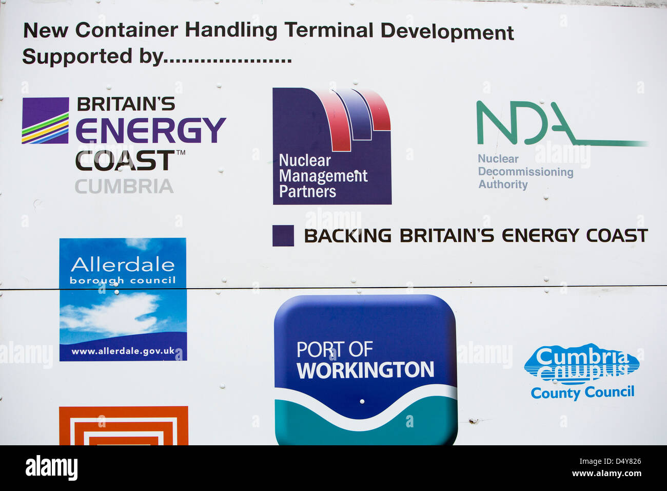 A sign for the new container handling facility in Workington port, Cumbria, UK. - Stock Image