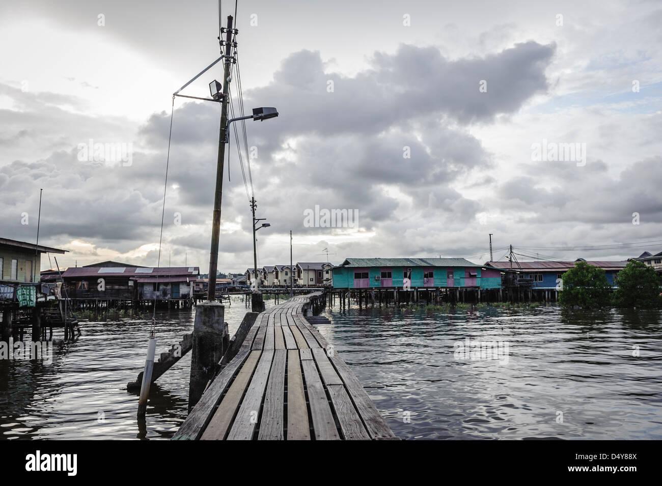 Floating streets of Kampung Ayer neighbourhood, Bandar Seri Bengawan, Brunei, Asia - Stock Image