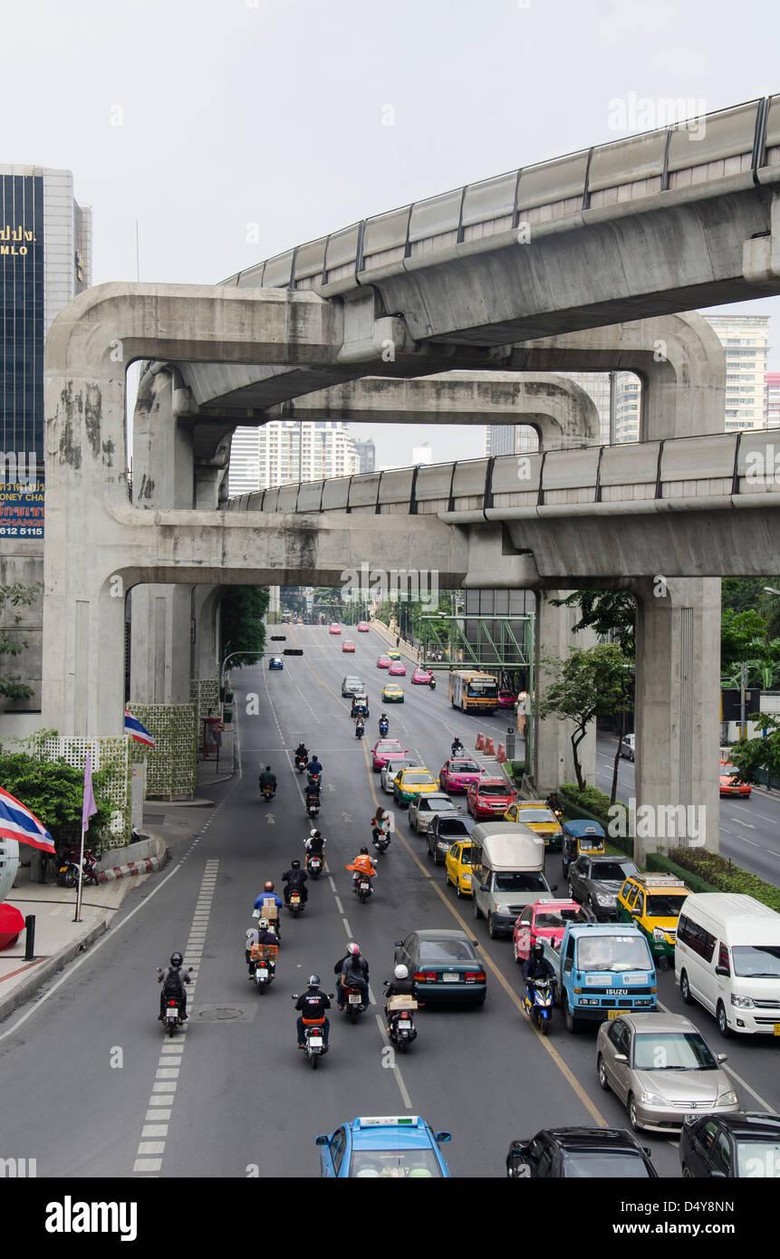 Bangkok skytrain metroline BTS constructions Stock Photo