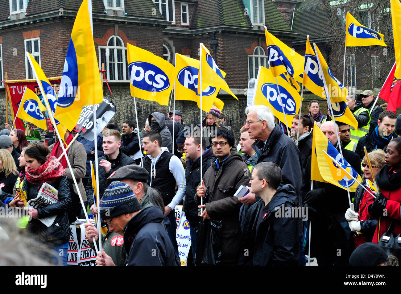 Civil servants on strike rally outside the parliament on budget day. - Stock Image