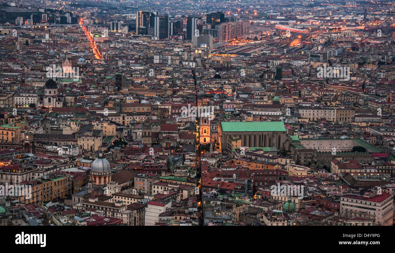 view of the old center of the city of naples, italy - Stock Image