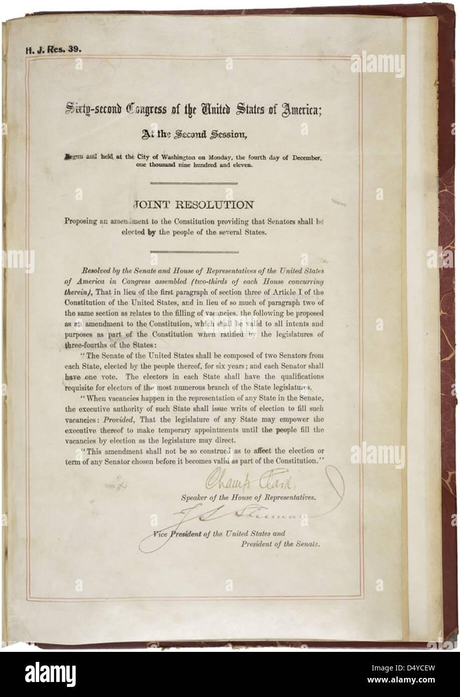 17th Amendment to the U.S. Constitution: Direct Election of U.S. Senators (1913) - Stock Image