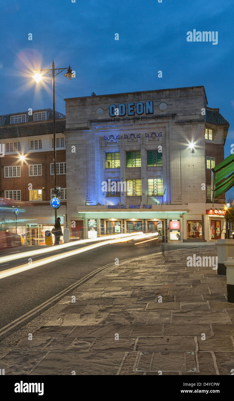 Odeon Cinema at night on Hill Street,Richmond Upon Thames,South West London,England - Stock Image