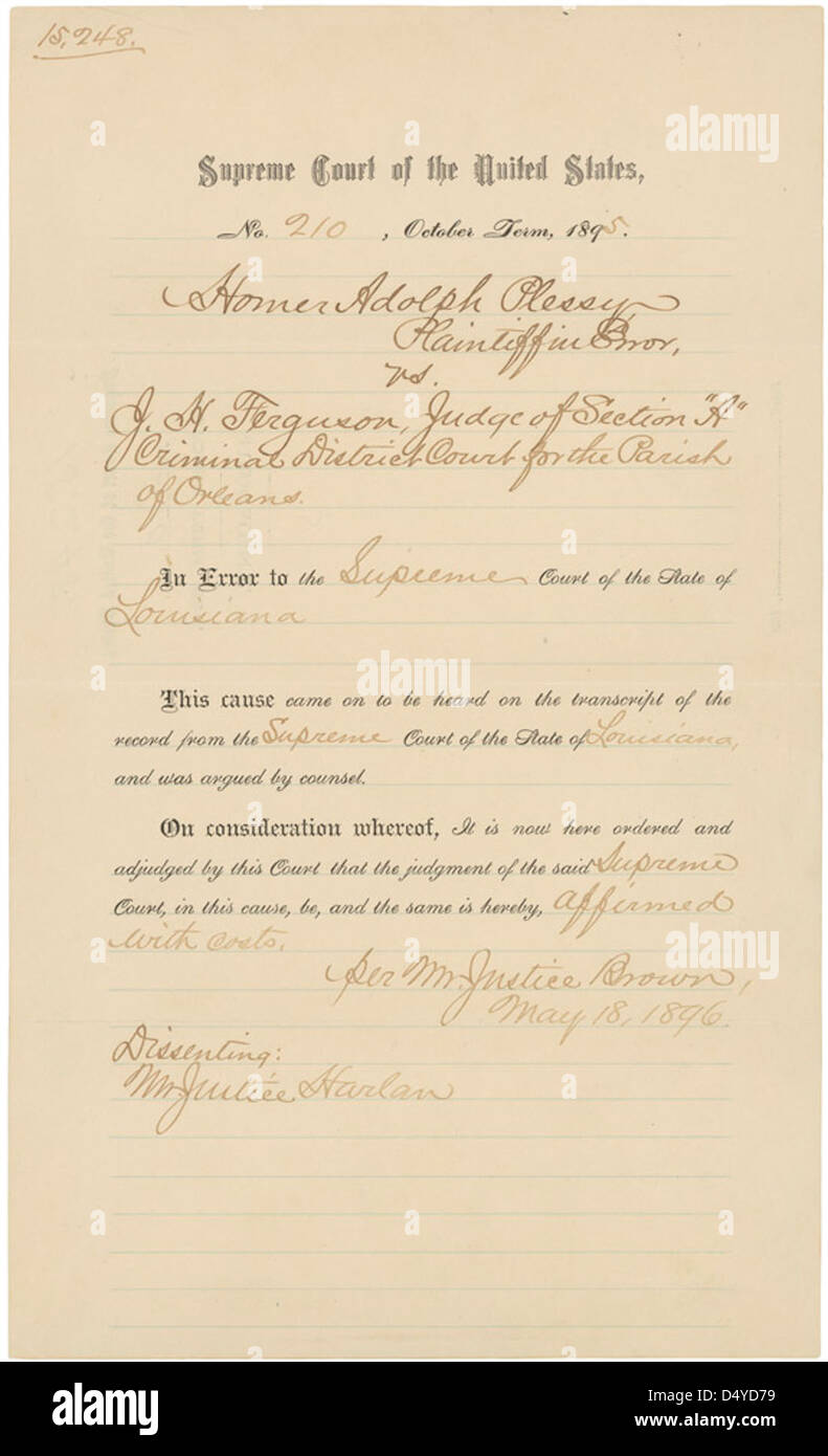 Judgment in Plessy v. Ferguson, Page 1 of 2 - Stock Image