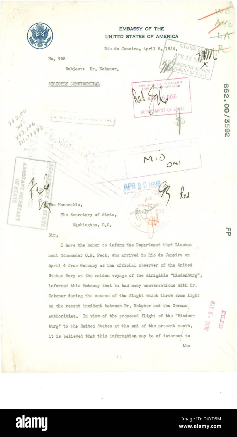 Letter from Hugh Gibson to Department of State Regarding the Hindenburg (Page 1 of 3) - Stock Image