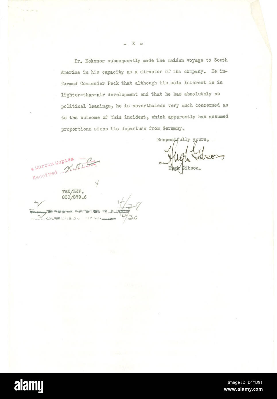 Letter from Hugh Gibson to Department of State Regarding the Hindenburg (Page 3 of 3) - Stock Image