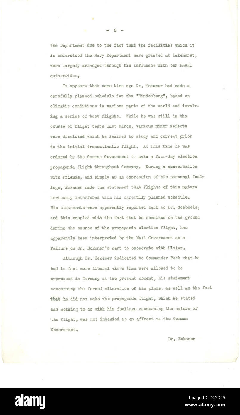 Letter from Hugh Gibson to Department of State Regarding the Hindenburg (Page 2 of 3) - Stock Image