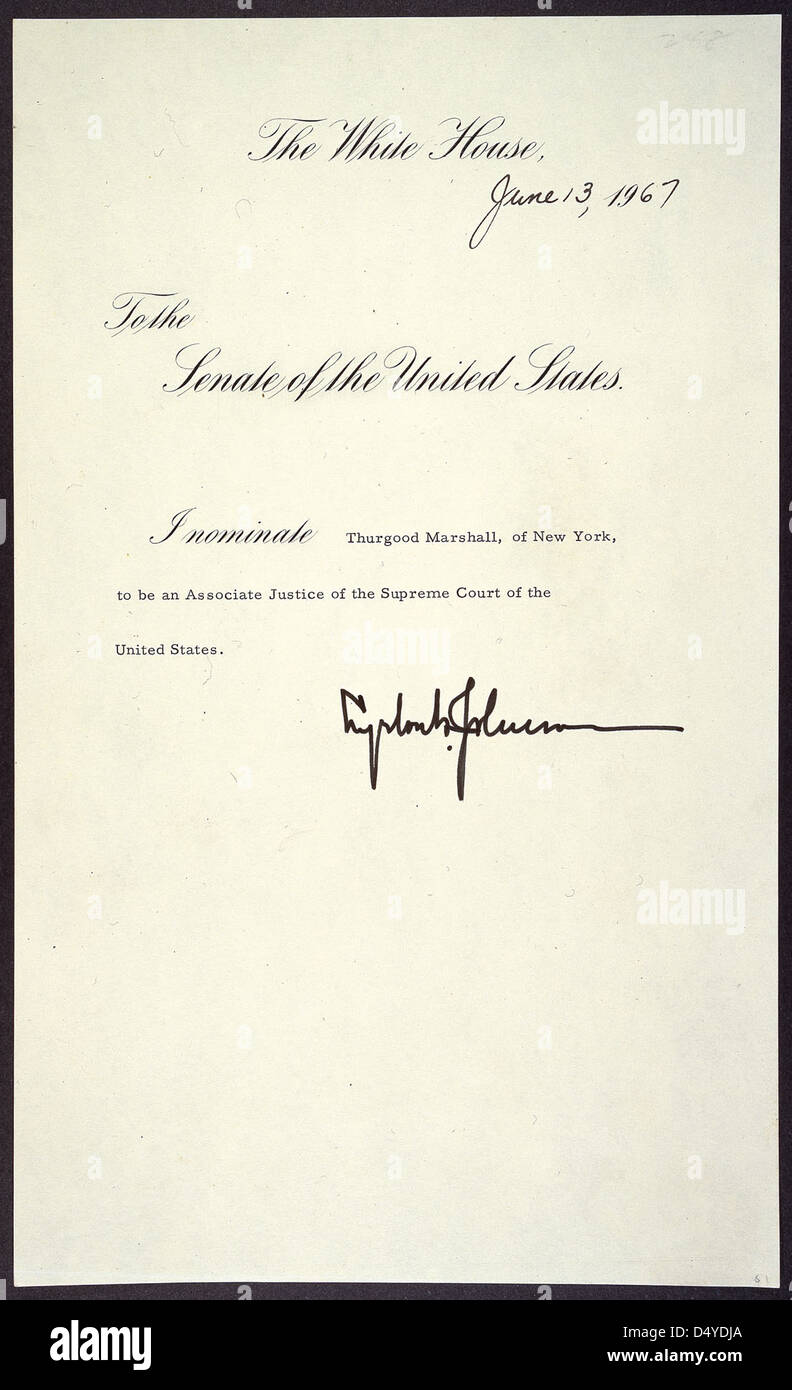 Message of President Lyndon B. Johnson nominating Thurgood Marshall of New York to be an Associate Justice of the - Stock Image