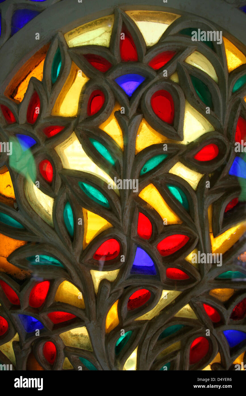 colored glass windows of udaipur city palace - Colored Glass