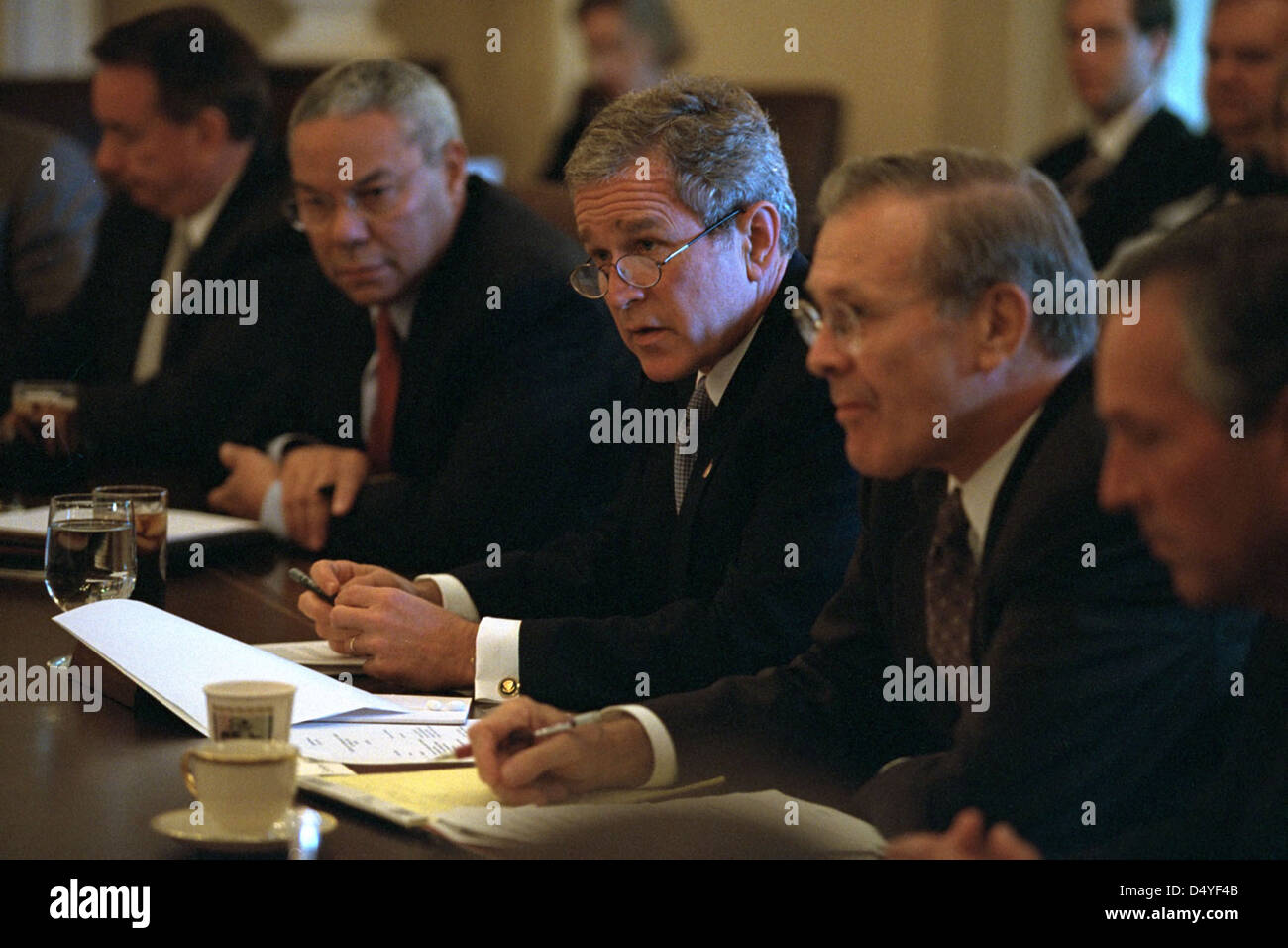 President George W. Bush meets with his Cabinet, including U.S. Secretary of State Colin Powell, left, and Secretary - Stock Image
