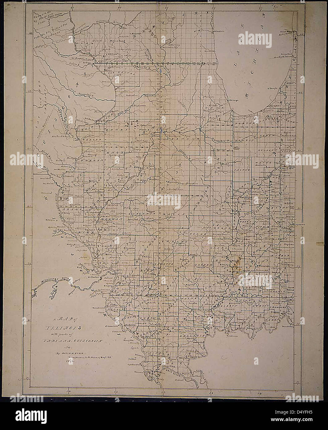 A map of Illinois, 1836 - Stock Image