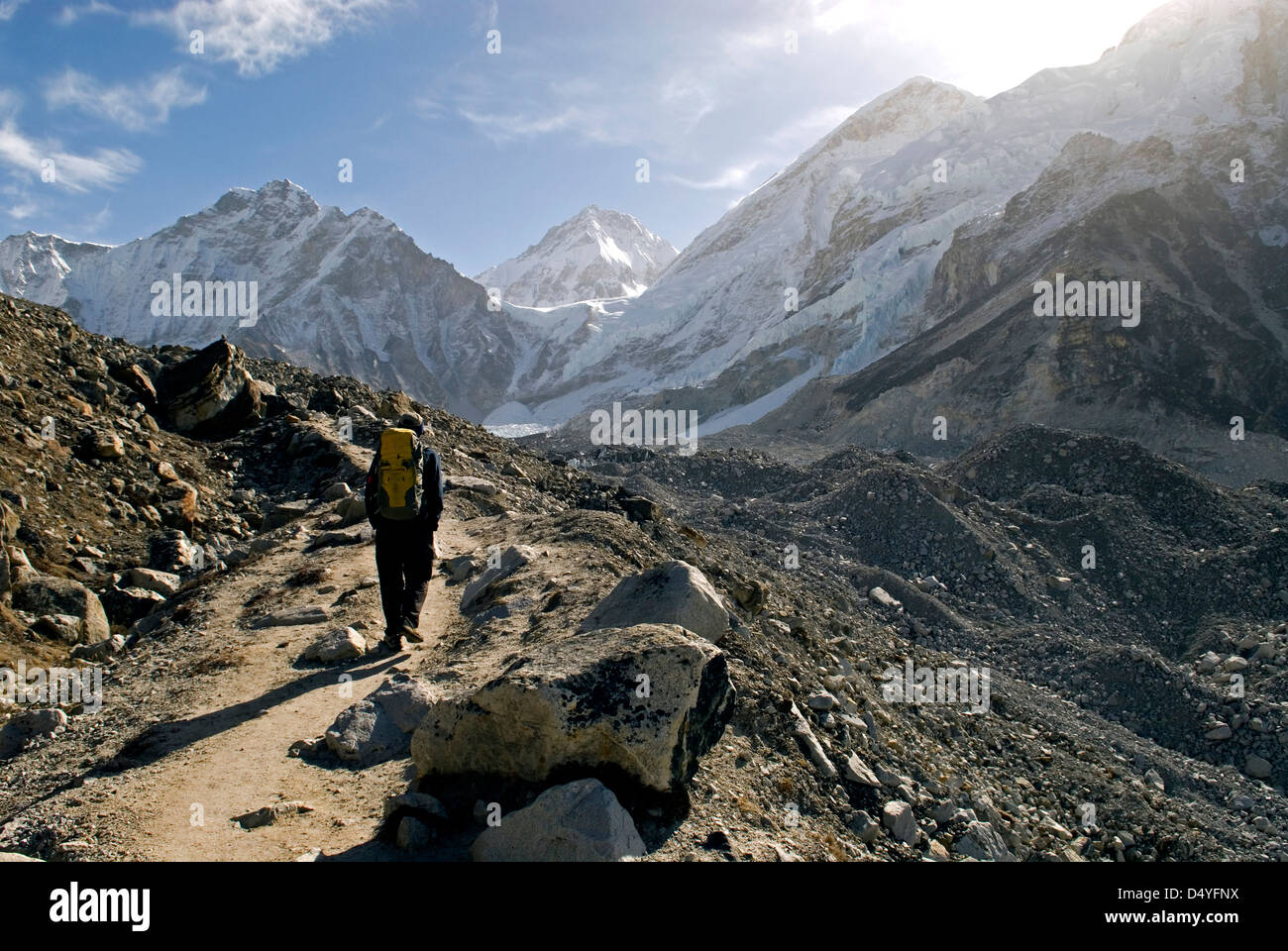 Nepal. A trekker on the Everest Base Camp Trail in the Khumbu region of Nepal. - Stock Image