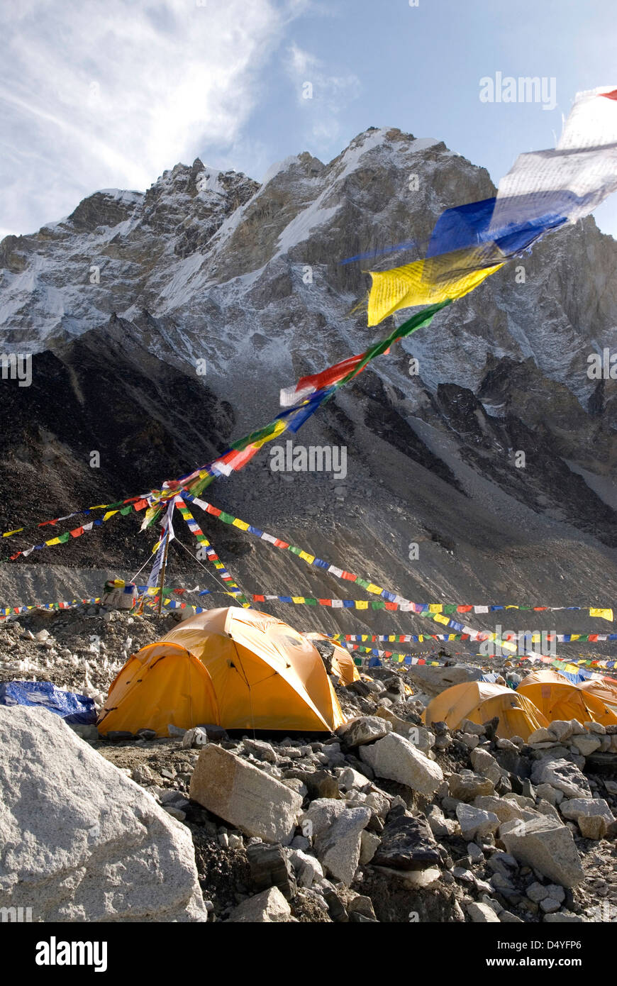 Nepal, Mount Everest. The tents of mountaineers are scattered along the Khumbu Glacier at Base Camp. - Stock Image