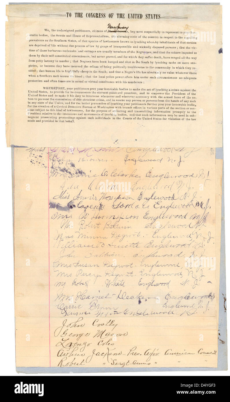 Petition from the citizens of New Jersey praying for Congress to make the act of lynching a crime against the United - Stock Image