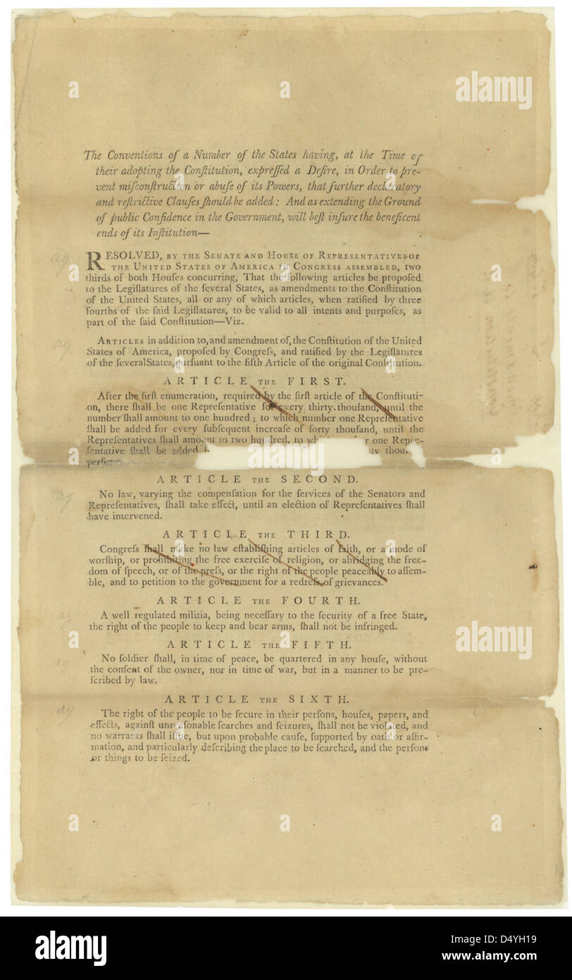 Proposed Amendments to the U.S. Constitution, 09/14/1789 (page 1 of 2) - Stock Image