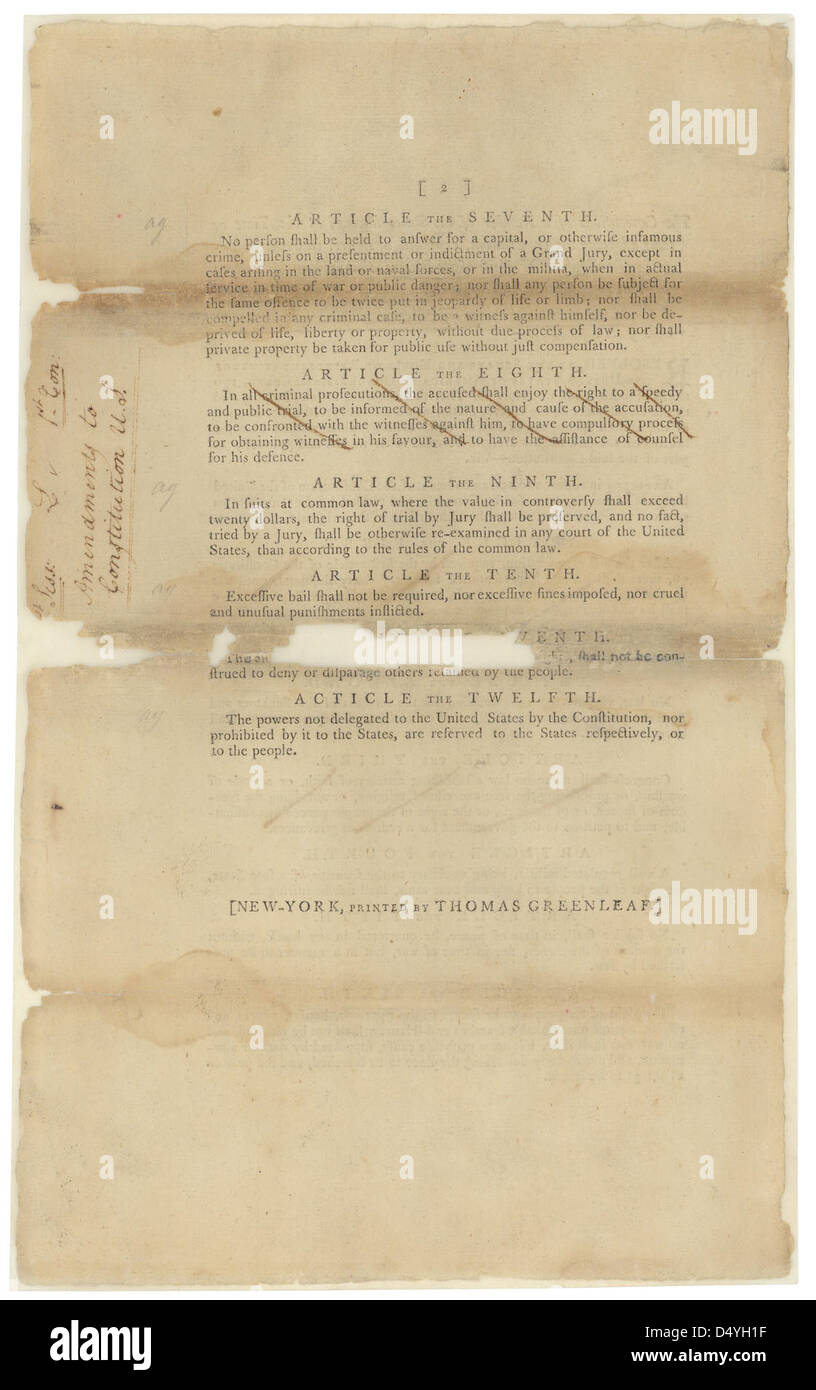 Proposed Amendments to the U.S. Constitution, 09/14/1789 (page 2 of 2) - Stock Image