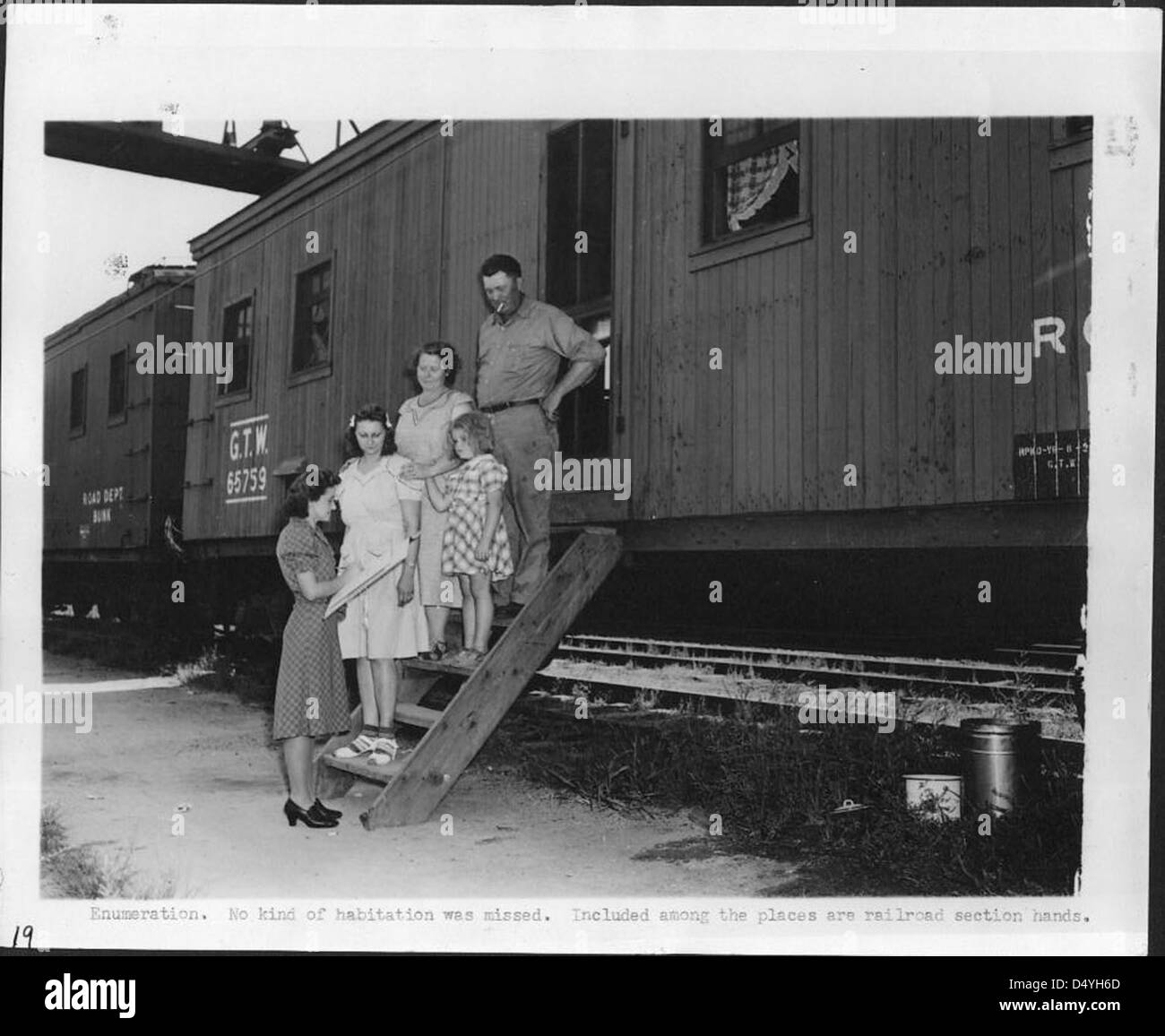 Enumeration, No Kind of Habitation was Missed, Included among the Places are Railroad Section Hands, 1940 - 1941 - Stock Image