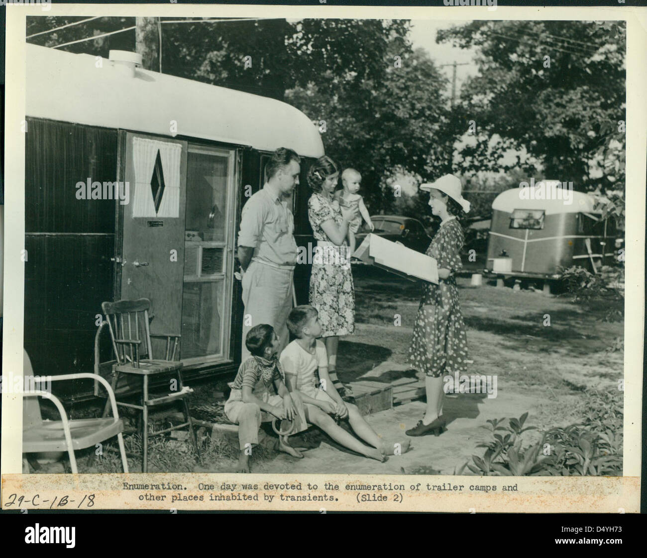Enumeration, One Day was Devoted to the Enumeration of Trailer Camps and Other Places Inhabited by Transients, 1940 - Stock Image