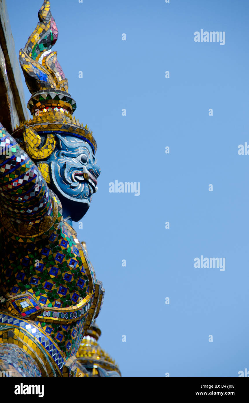Thailand, Bangkok. The Grand Palace, established in 1782. The Upper Terrace monuments with mythological creature Stock Photo