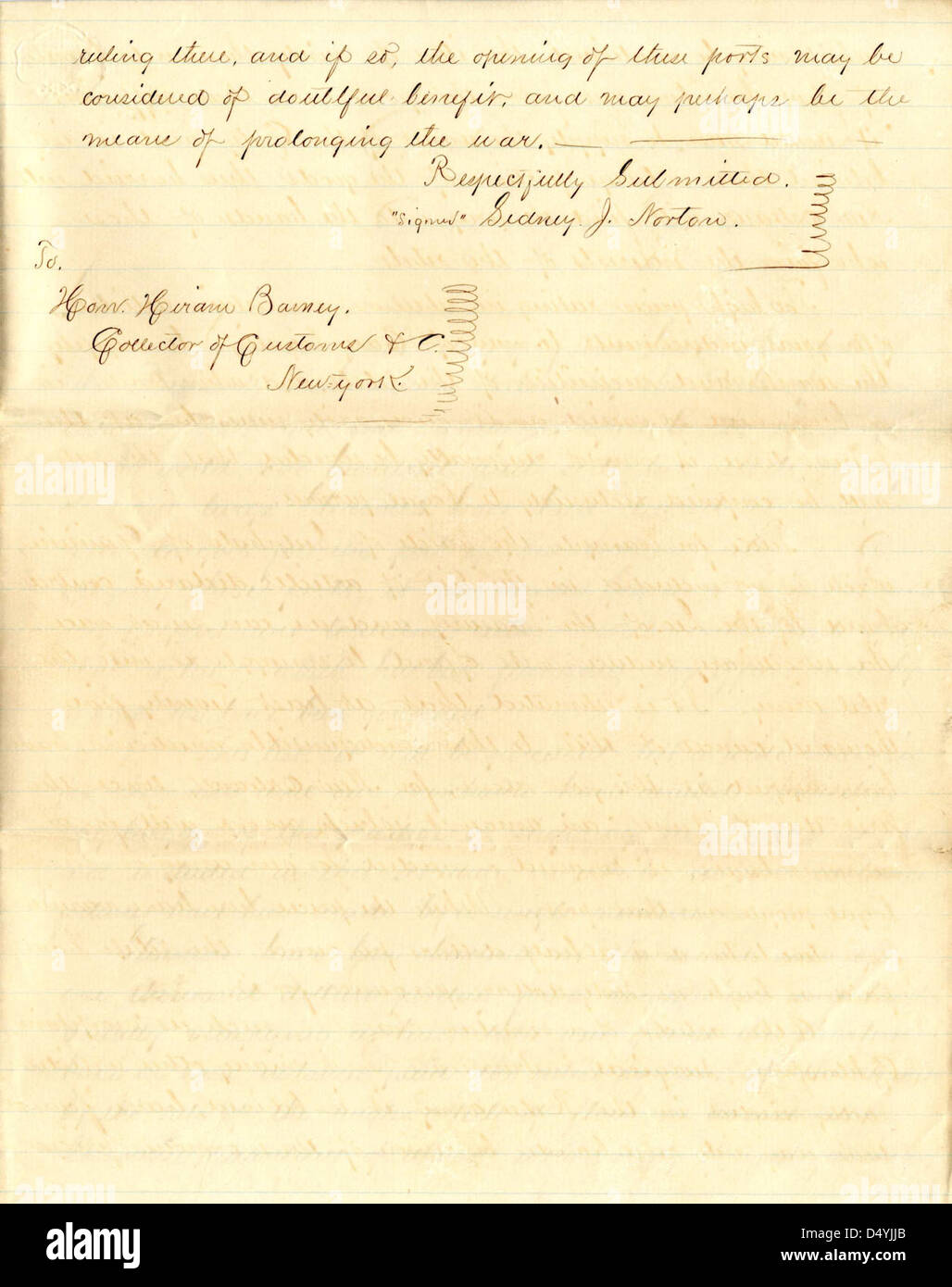 letter from sidney j norton to ciran barney new york collector of