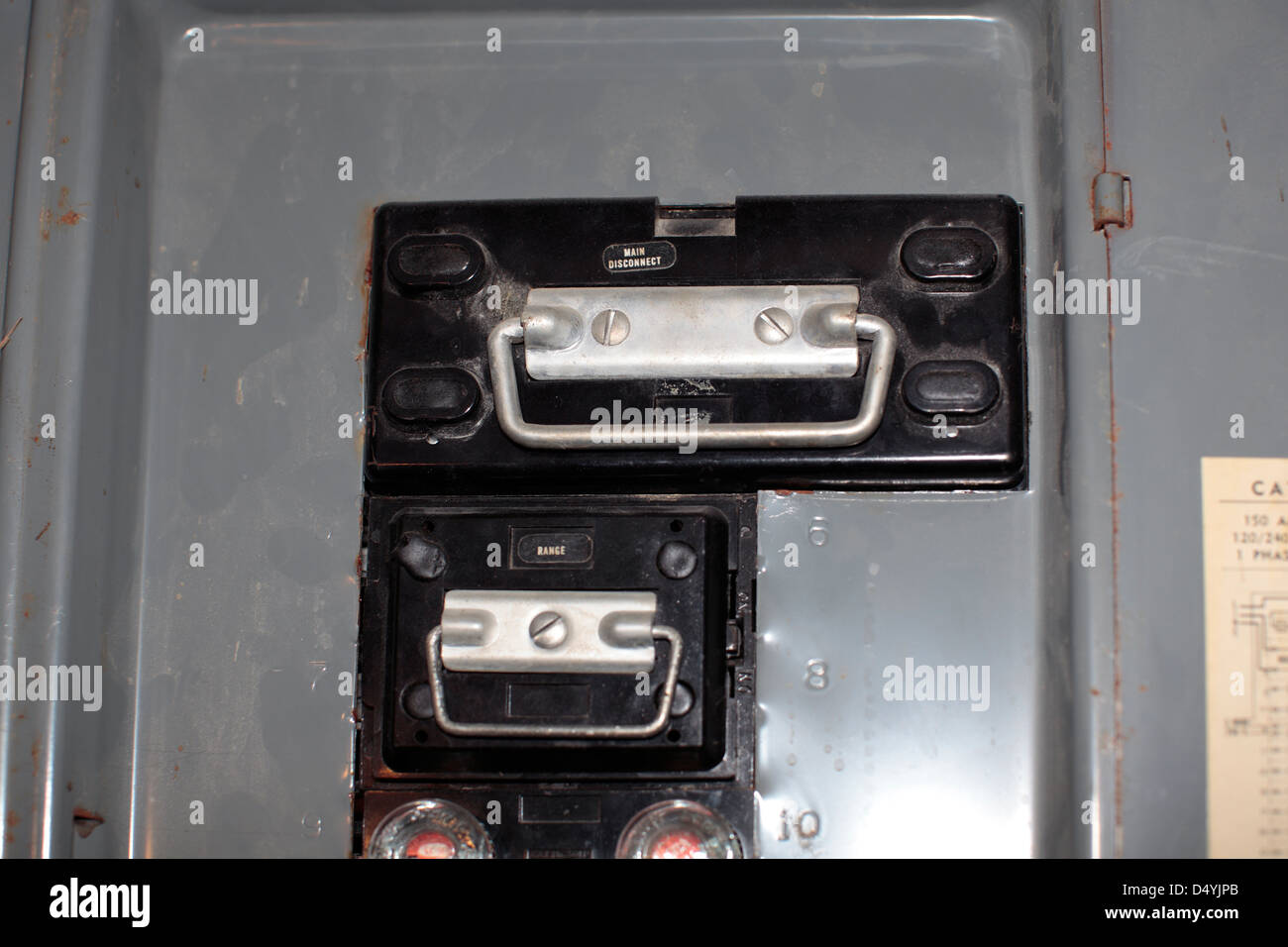 Pullout breakers in home electrical panel Stock Photo: 54697171 - Alamy