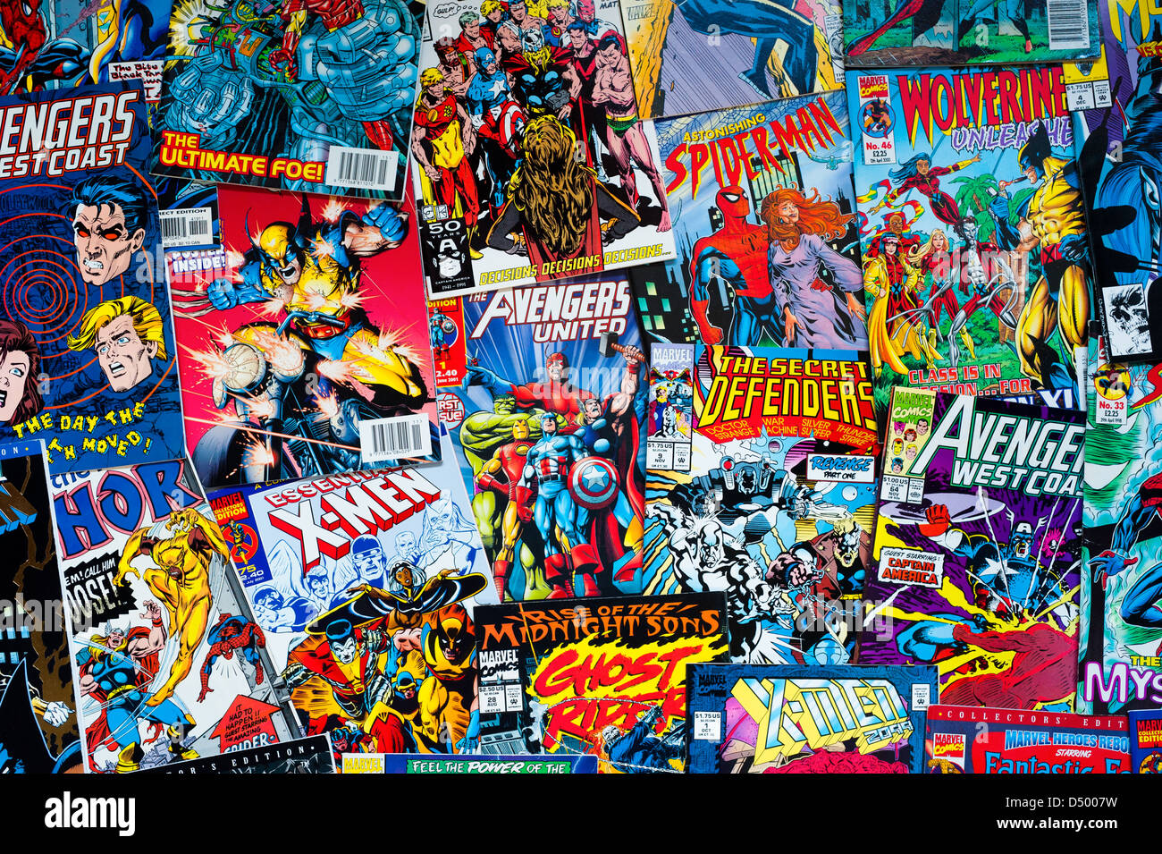 A collection of Marvel comics - Stock Image