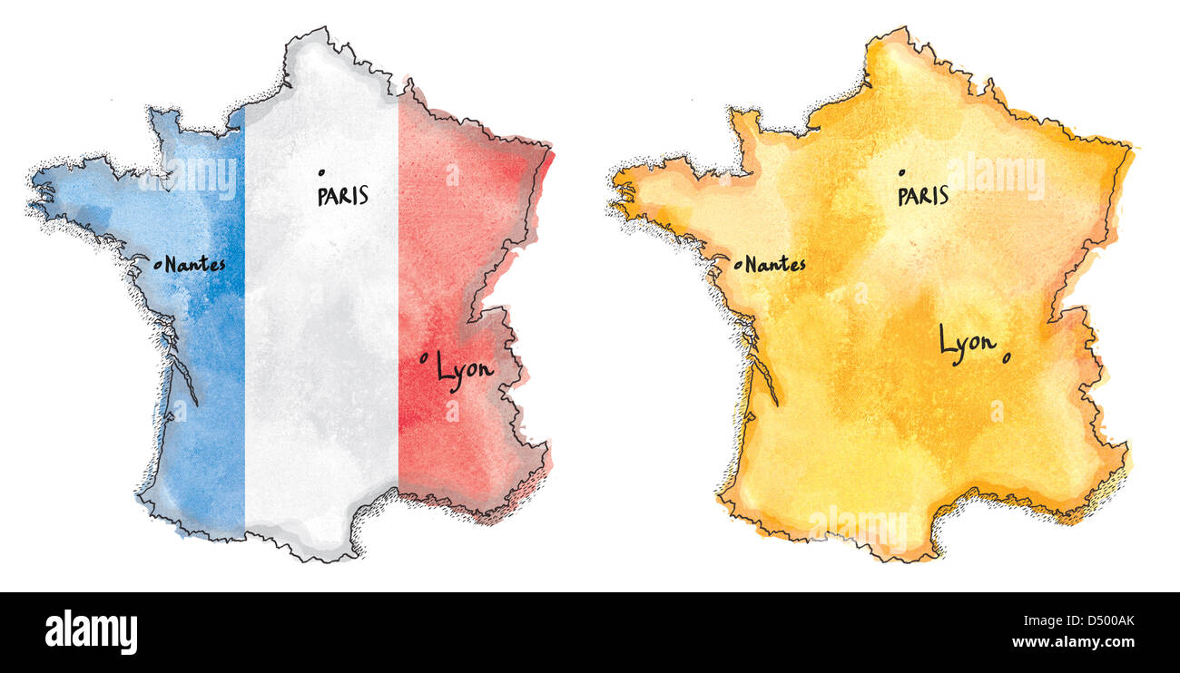 France Map Flag.France Map On Flag Watercolor Painted Stock Photo 54704683 Alamy