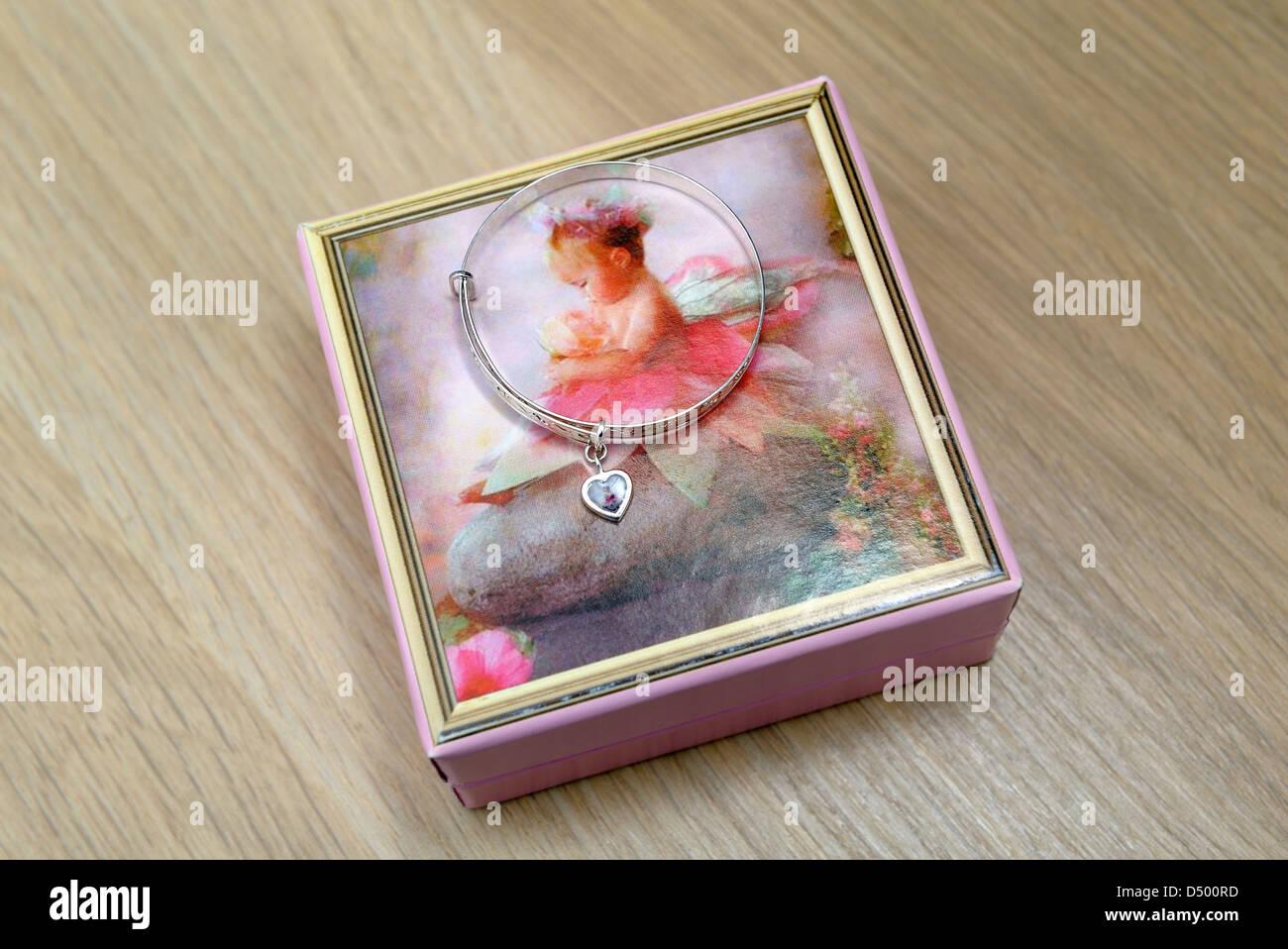Baby bangle with its presentation box - Stock Image