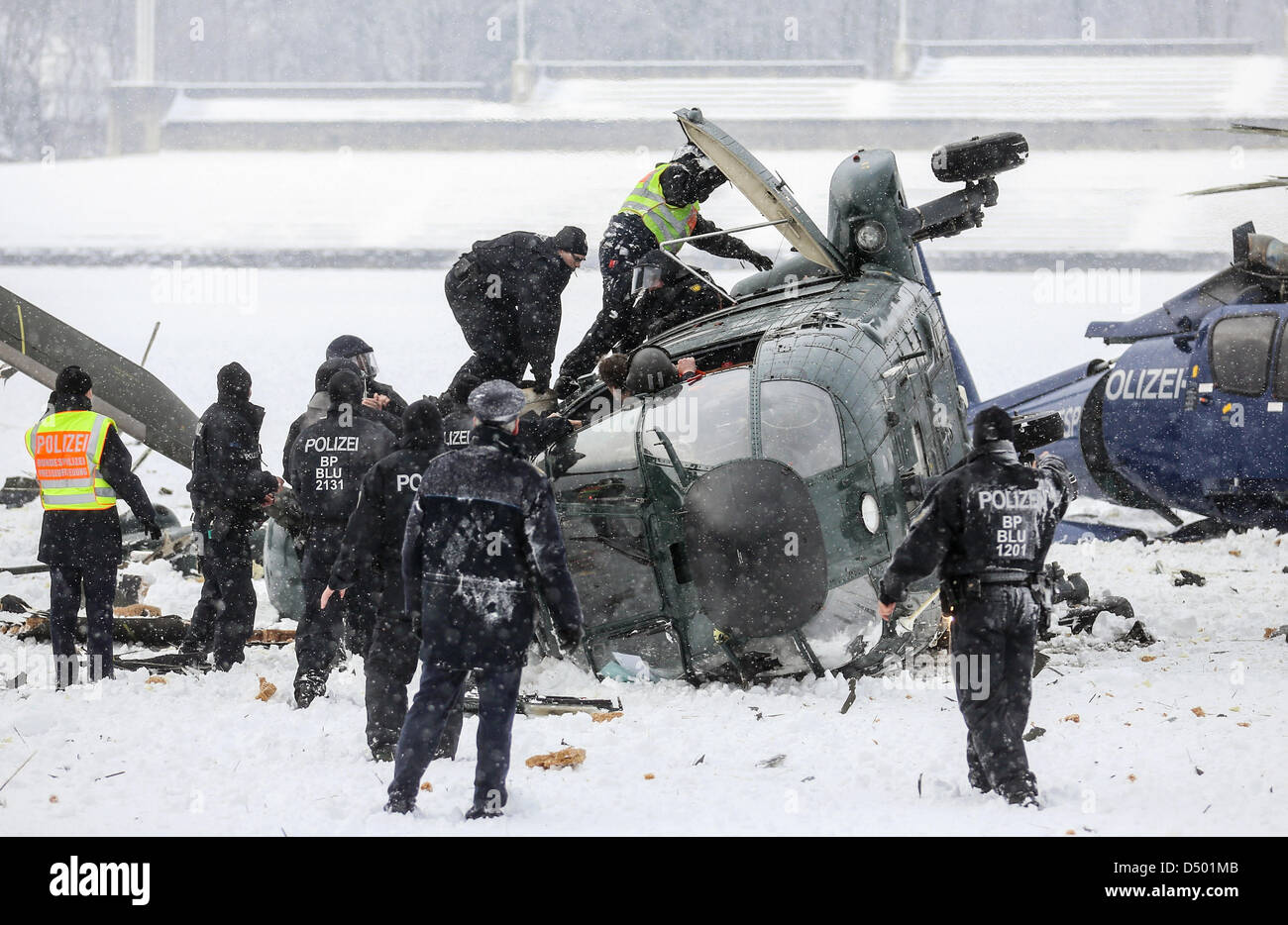 Berlin, Germany. 21 March 2013. Two crashed helicopters of the German federal police lie on the May field at the - Stock Image