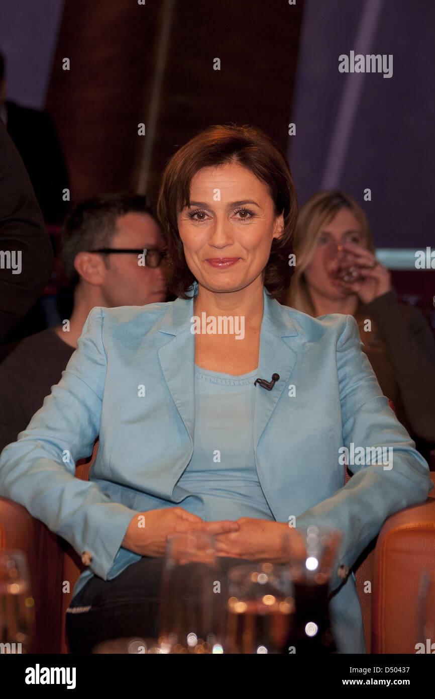 Sandra Maischberger at 666th episode of German NDR Talk Show. Hamburg, Germany - 10.02.2012 Stock Photo