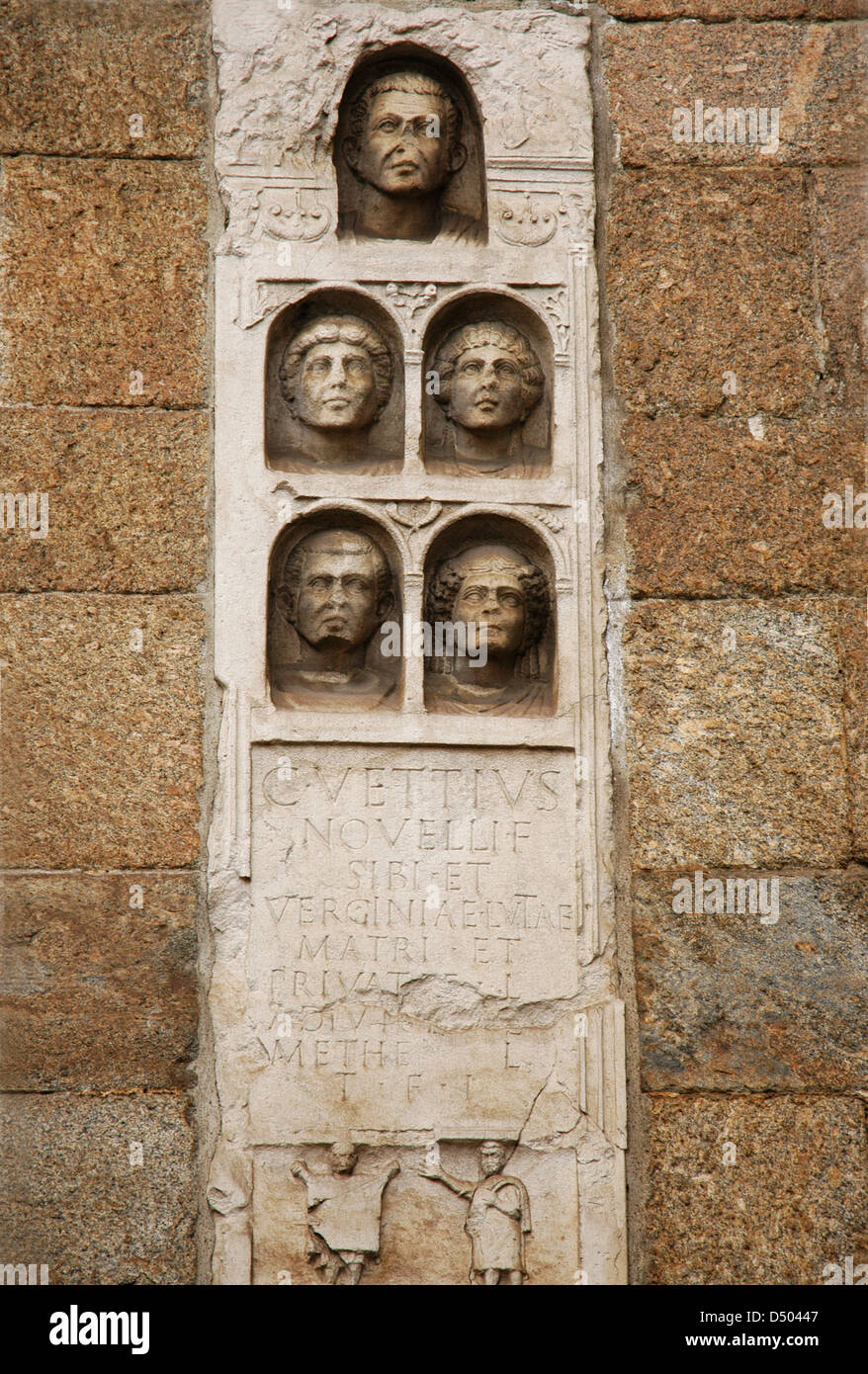 Roman Art. Gravestone, dating the 1st century AD. Reused in the Middle Ages to build the Porta Nuova city gate in - Stock Image