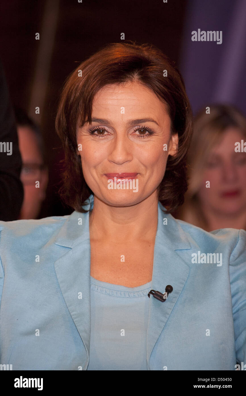 Sandra Maischberger at 666th episode of German NDR Talk Show. Hamburg, Germany - 10.02.2012 Stock Photo