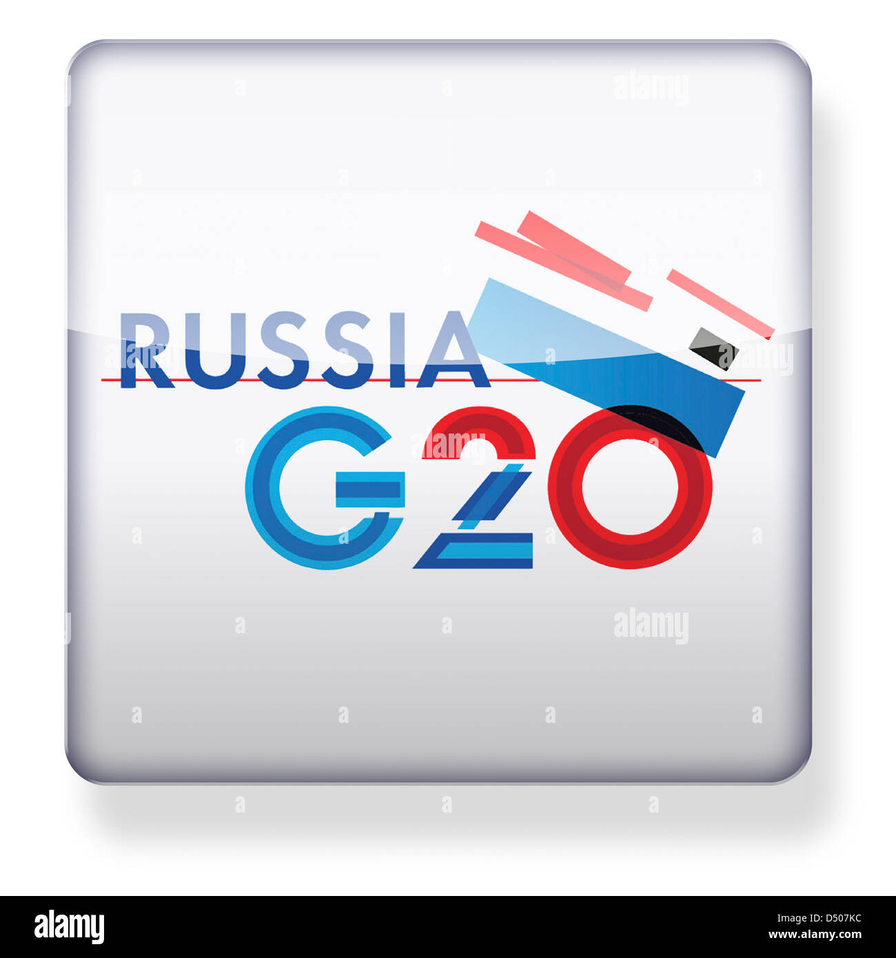 Russia G20 logo as an app icon. Clipping path included. - Stock Image