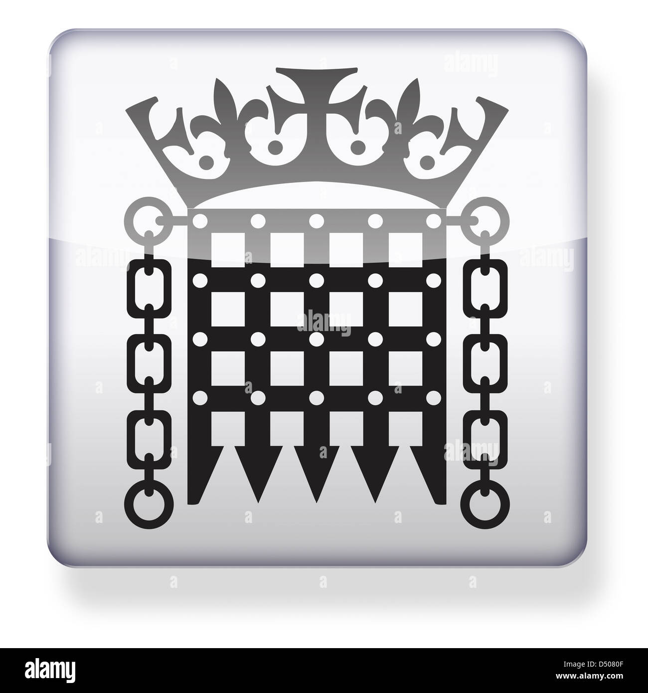 Parliament portcullis logo as an app icon. Clipping path included. - Stock Image
