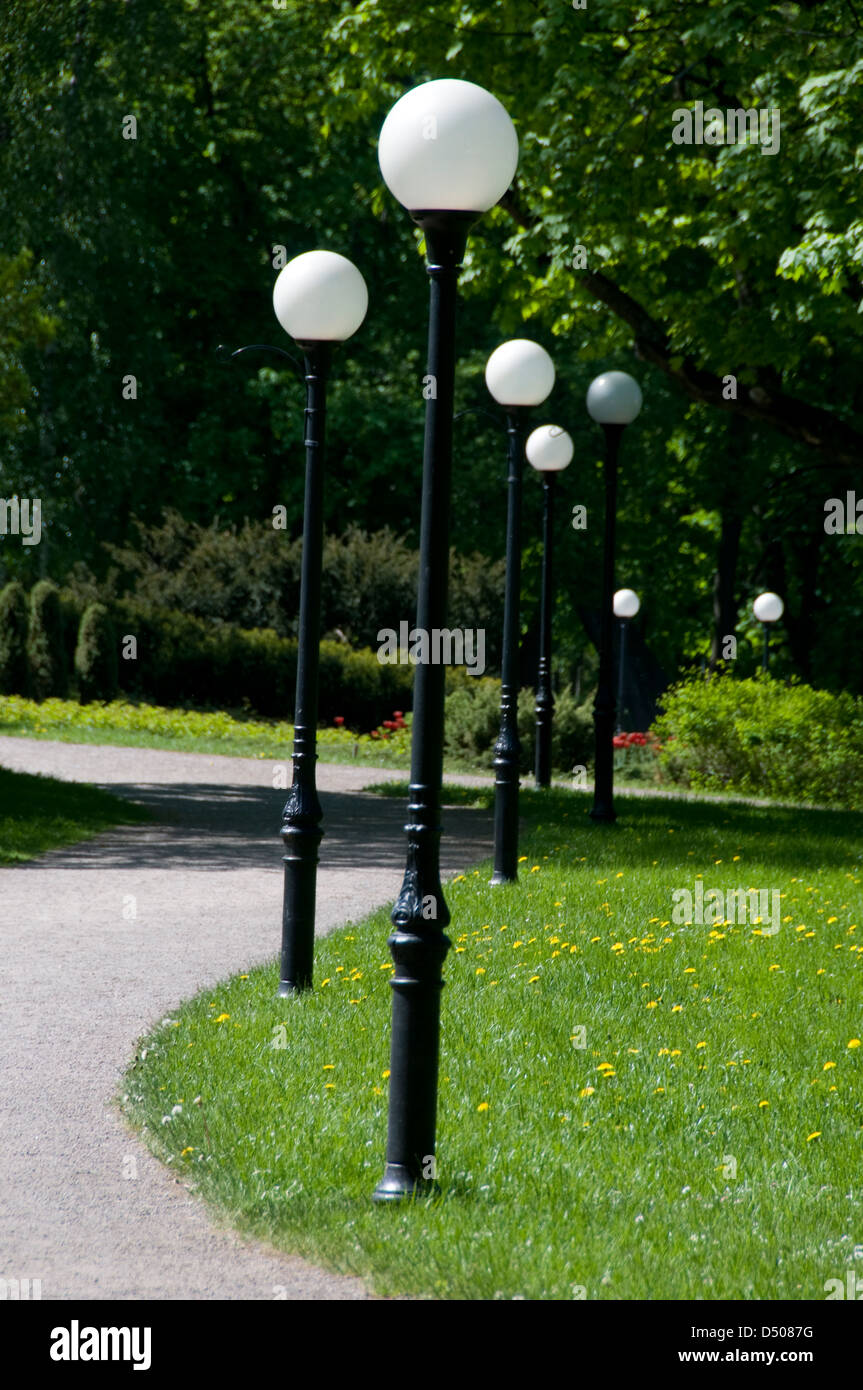 a row of footpath lights at kadriorg park on a weizenbergi in stock