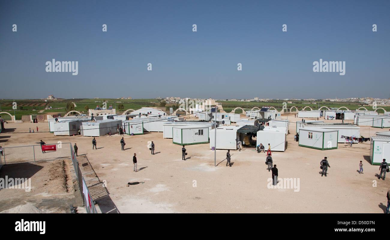 King Abdullah Park refugee camp for fleeing Syrians in Jordan near the Syrian border - Stock Image