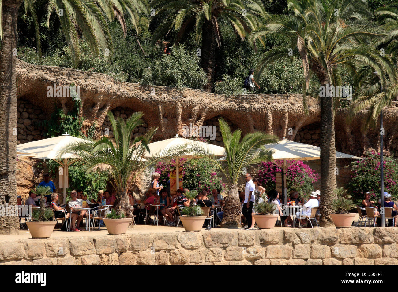 Parc Guell, Cafe, Barcelona, Spain - Stock Image