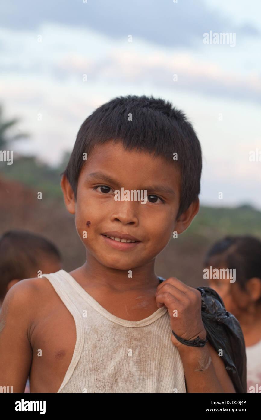 Little Amerindian boy of the Arawak tribe, Fair View village. Kurupukari Falls, Iwokrama Forest, Guyana. - Stock Image