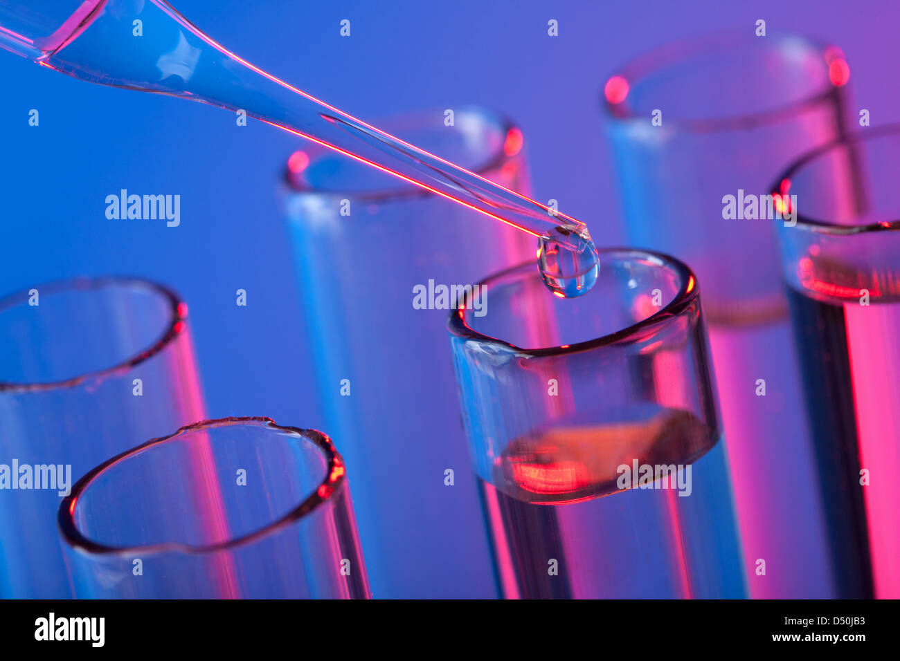 test tubes and pipette - Stock Image