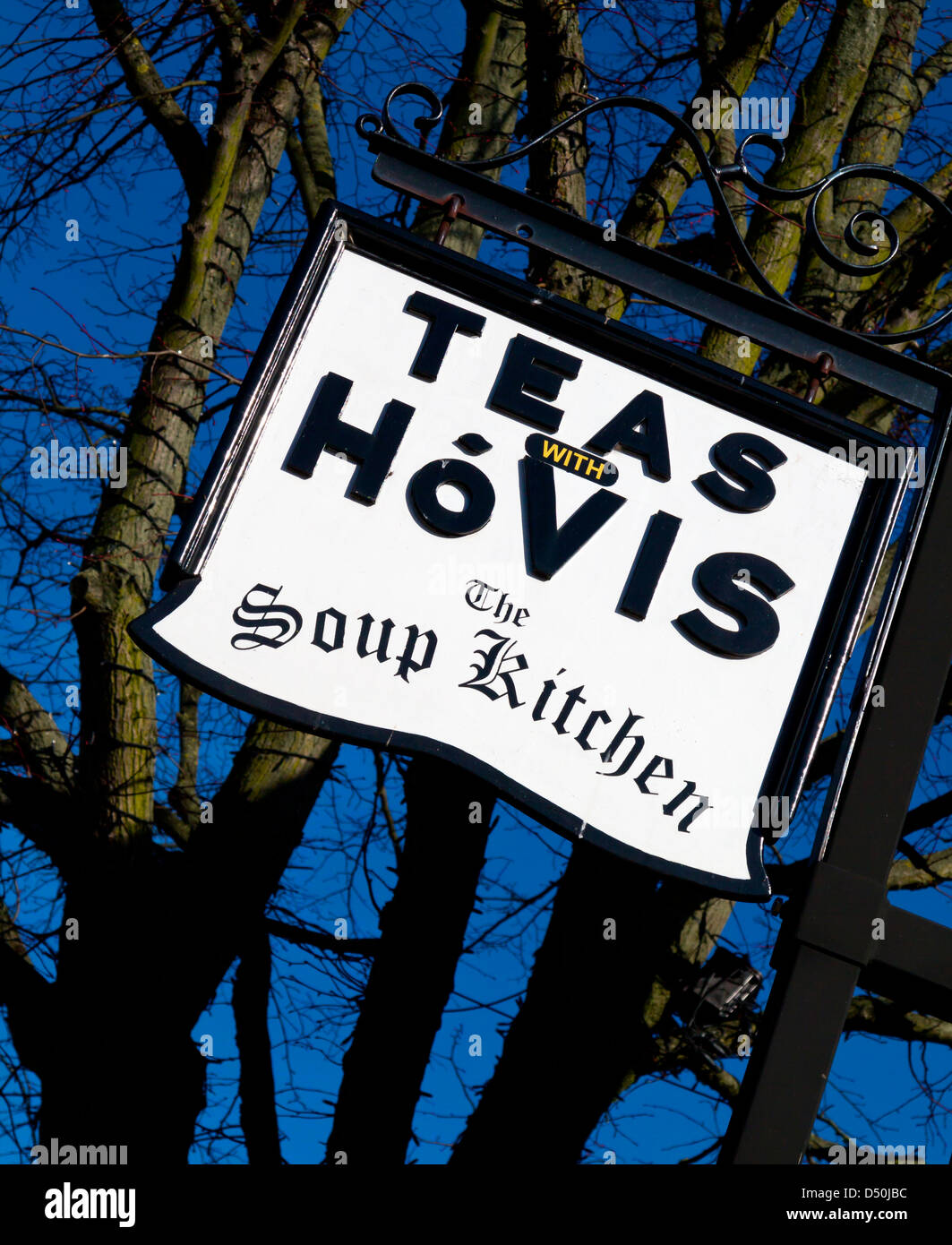 Teas With Hovis sign at the Soup Kitchen cafe in Stafford Town Centre Staffordshire England UK - Stock Image