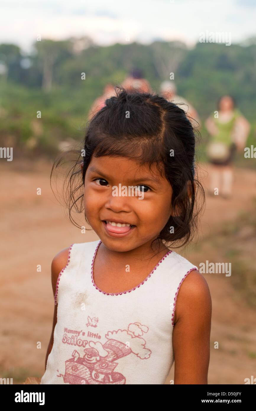 Little Amerindian girl of the Arawak tribe, Fair View village. Kurupukari Falls, Iwokrama Forest, Guyana. - Stock Image